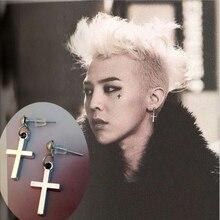 Lubingshine Punk Cross Pendant Dangle Earrings Fashion Men Women Bang G Dragon Metal Silver Drop Bts Jewelry E1021
