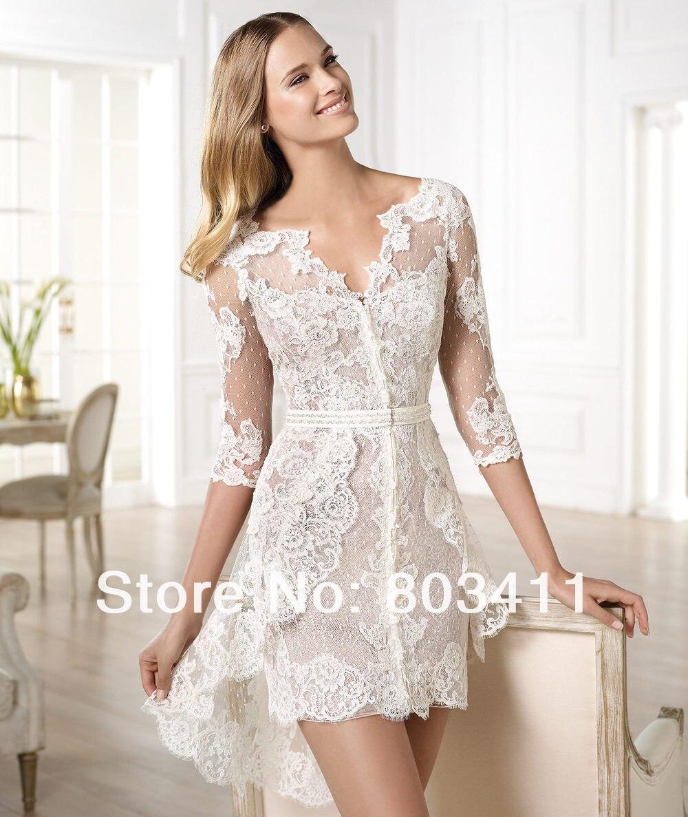 Nueva moda personalizada playa de encaje corto vestido de boda con manga frances