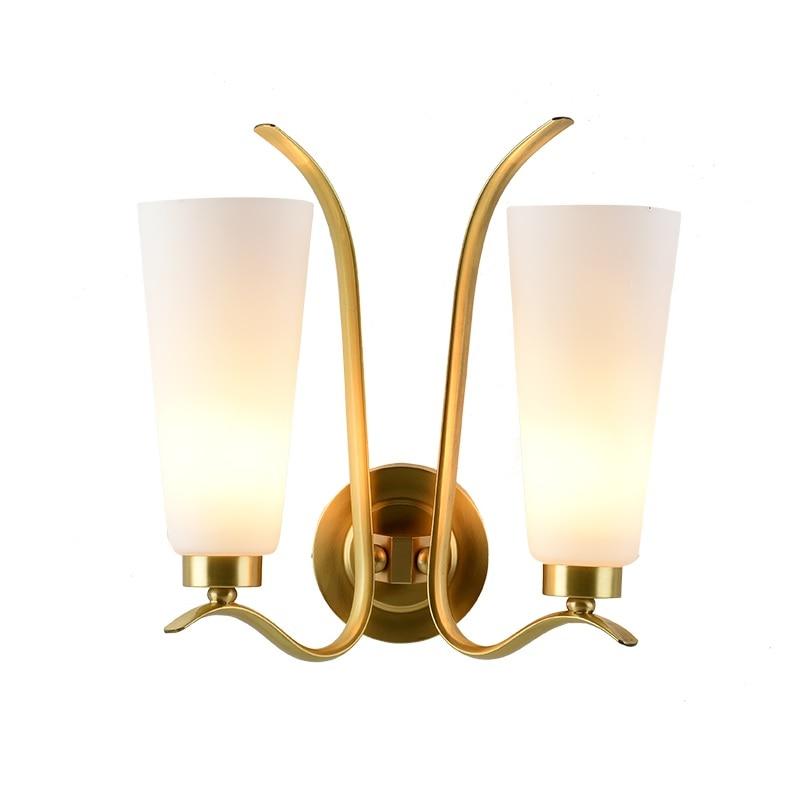 New York Design 35cm Brass Wall Lamp with Glass Shade стоимость
