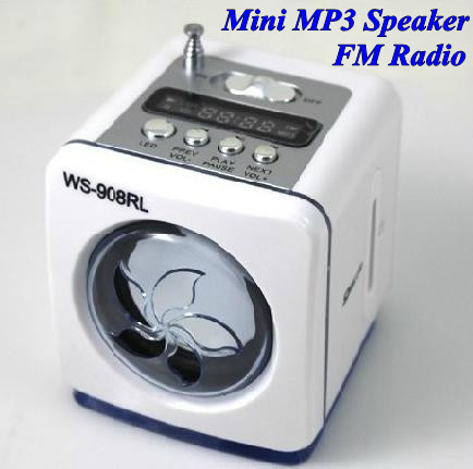 Wholesale (10pcs/Lot) Portable Mini MP3 Speaker with FM Radio LED Torch Backlight USB SD Aux for Mobile Phone Computer