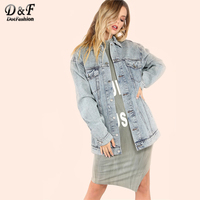 Dotfashion Woman Mineral Wash Oversized Denim Jacket 2017 Lapel Single Breasted Tops Autumn Blue Jacket