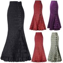 Feitong богемная юбка с цветочным принтом, винтажные длинные юбки с цветочным принтом, Женская пляжная летняя элегантная пляжная юбка макси, бохо, высокая талия# w30