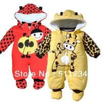 Retail 1pcs Cartoon Cotton boy girls Thick warm Winter Clothing infant jumpsuit Baby Romper