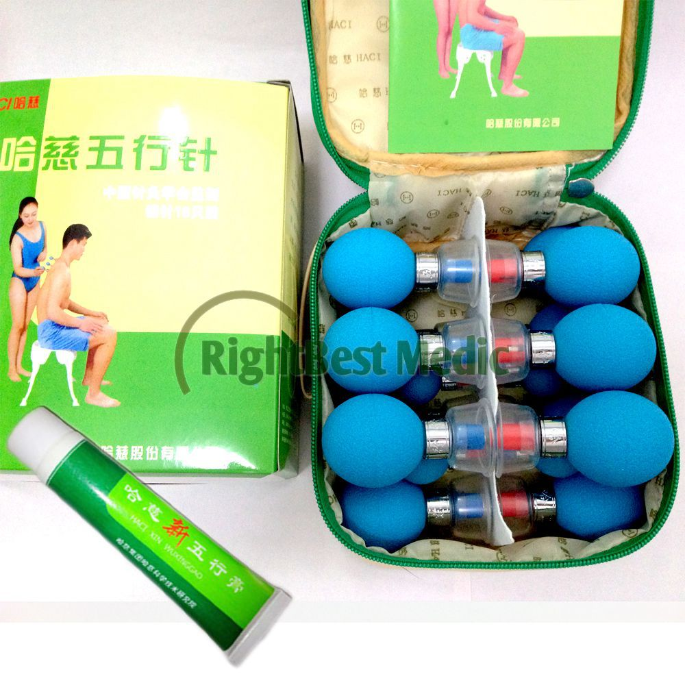 Russian&English User Manual HACI Magnetic Acupressure Suction Cupping Silver Plated 18 Cups For Cupping Massage Therapy