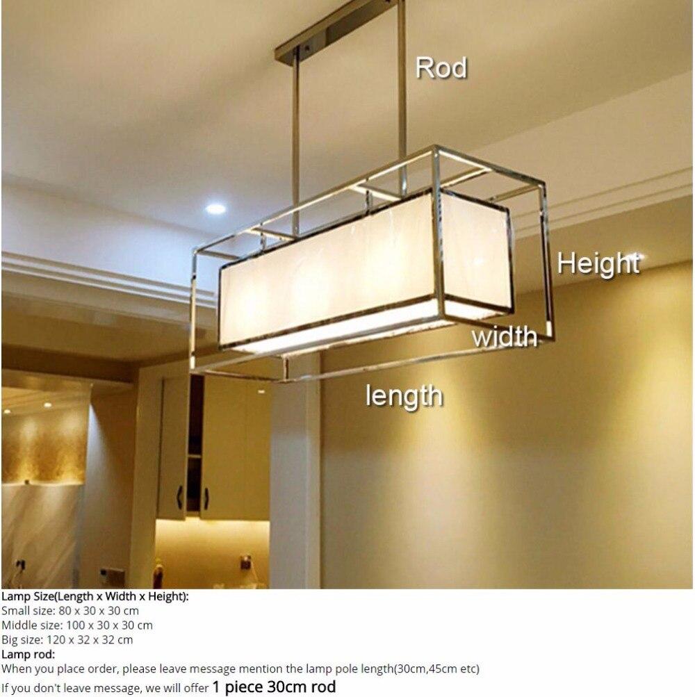 Stainless steel Oblong rectangle cuboid long pendant light lamp