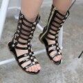 Девочек сандалии летние дети обувь принцесса колено высокие ботинки вырезы малыш гладиатор сандалии детские сапоги девушки мода загрузки