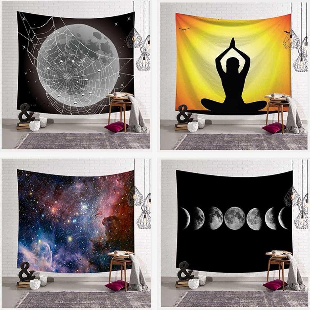 Shocking Earth Design Wall Hanging Tapestry Nebula Moon Elk Mandala Yoga Beach Towel Blanket Children Room Decoration Bedding