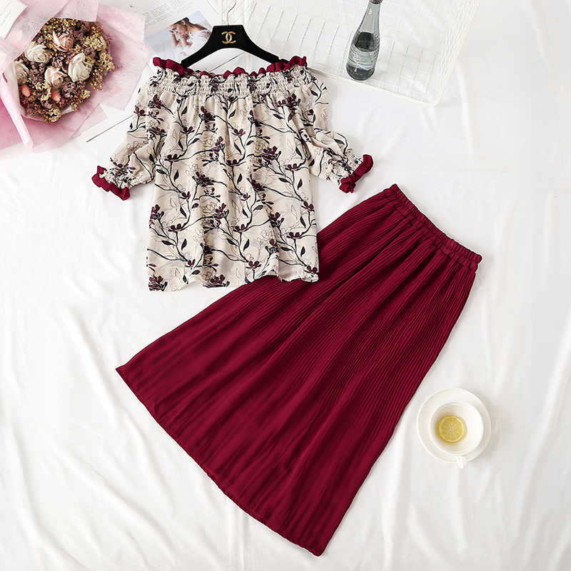 2 Piece Set Women Summer Clothes for Women Pleated Skirt Set 2019 Korean Sets Skirts Womens Tops and Blouses Outfits KJ2131