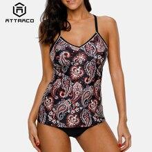 Attraco Women Tankini Set Swimwear Vintage Floral Print Swimsuit Back Cross Bikini Bathing Suit Beach Wear
