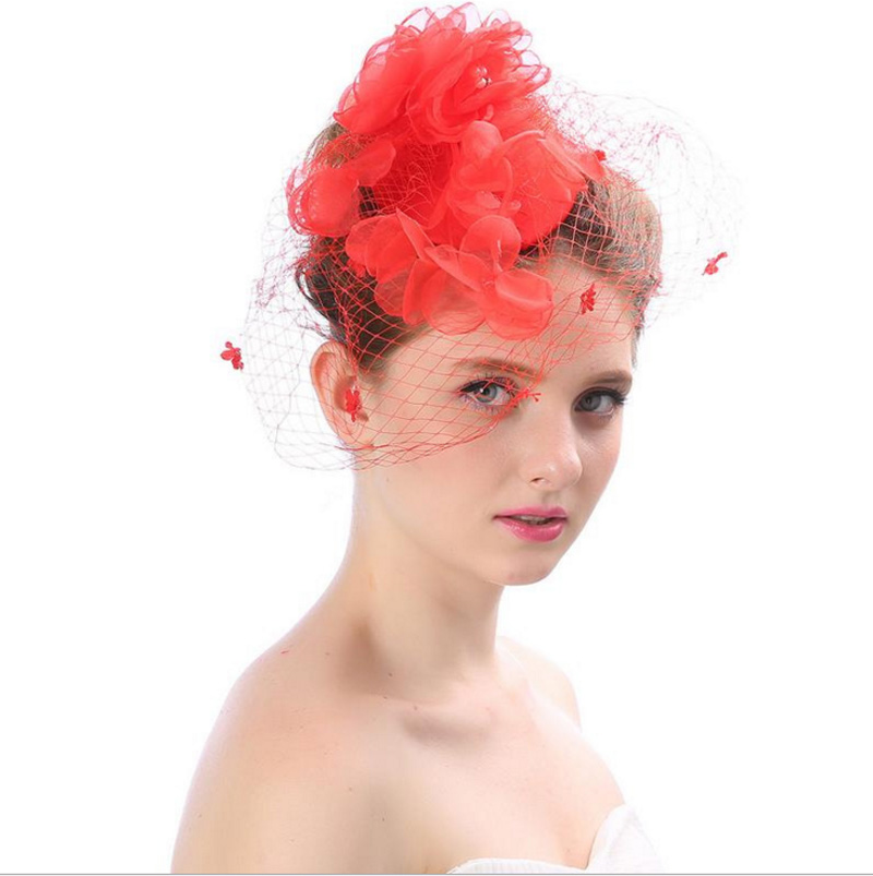 New type Mesh yarn Feather Headdress Red White Black Fascinator Wedding Photo Props Masquerade Party Decoration