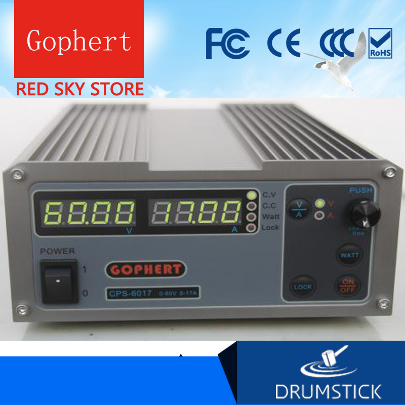 Gophert CPS-6017 DC Switching Power Supply Single Output0-60V 0-17A 1000W adjustable cps 6017 updated version 1000w 0 60v 0 17a high power digital adjustable dc power supply cps6017 220v