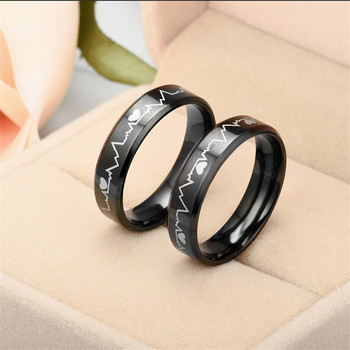 Fashion hot Men's Women's Creative ECG Design Heartbeat Titanium Steel Rings 2020 Classic Black Titanium Wedding Rings jewelry 3