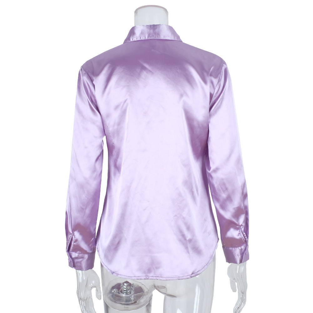 Silk Ol Blouse Shirt Women Stand Long Sleeve Button Up Womens Tops