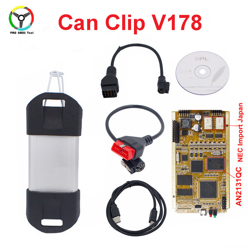 Newest Can Clip V190 Full Chip Gold AN2131QC CAN Clip OBD2 Diagnostic Tool Diagnostic Interface Scanner