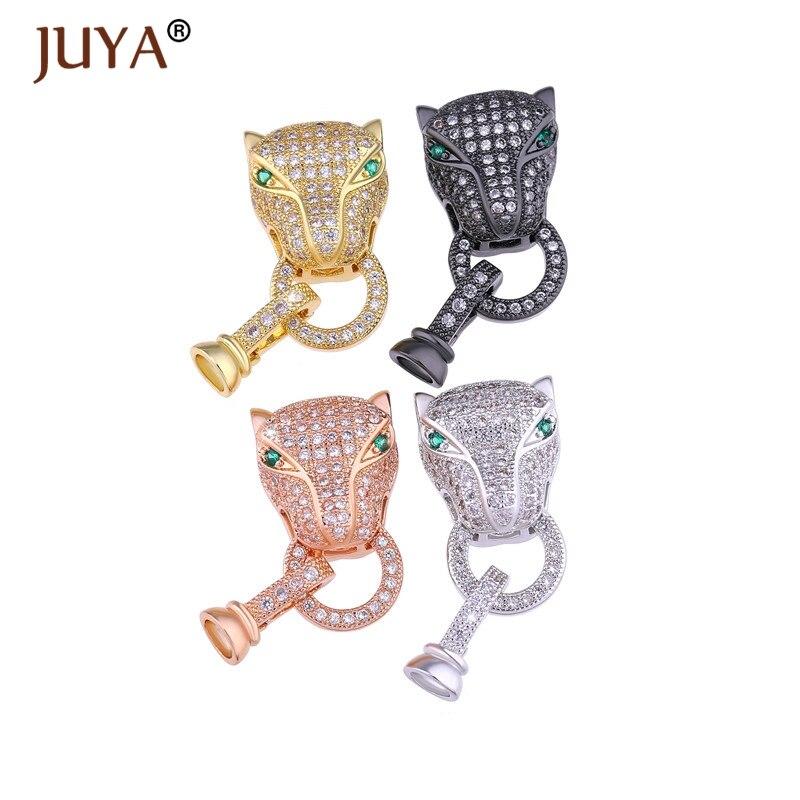 Jewelry Making Supplies Zircon Leopard Animal Clasps Fastener Accessories Handmade DIY Pearls Beaded Bracelet Necklace Jewelry