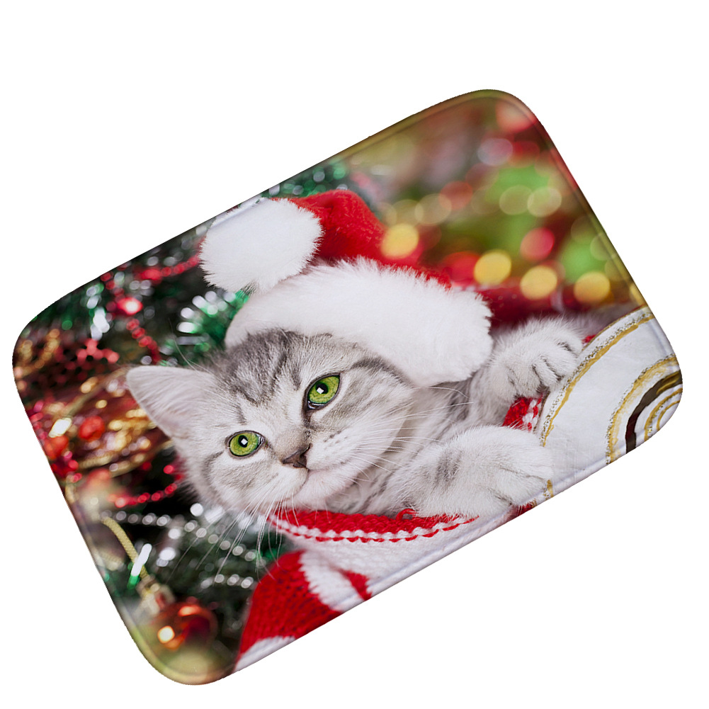Cat Christmas New Year Flannel Wipe Dirty Anti Slip Front Door Mats Doormat Outdoor Entrance Funny Dog Cute Snowman Carpet