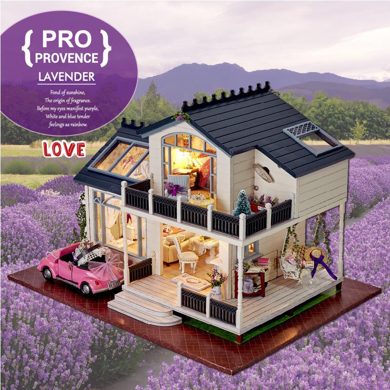 Assembling DIY Miniature Doll Houses Wooden Doll House Romantic Provence House Toy with Furnitures & Car Gift for Girls mylb assembling diy miniature model kit wooden doll house paris apartment house toy with furnitures