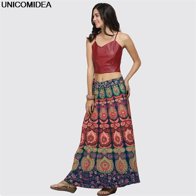07238c17cd Ethnic Women Maxi Skirt Jupe Longue Vintage Long Skirt Thailand Peacock  Print Women Skirts Casual Summer