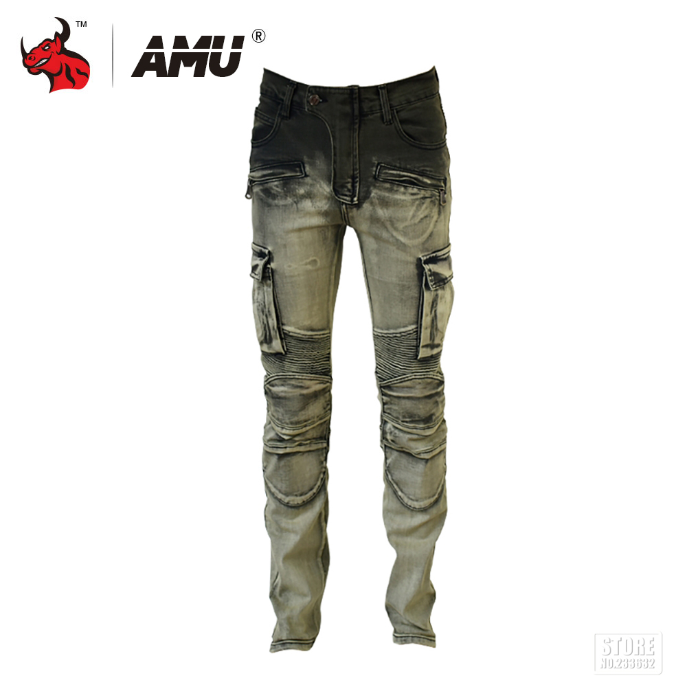 AMU Motorcycle Jeans Men Protective Gear Motocross Motorbike Racing Pants Motorcycle Biker Trousers amu motorcycle jeans camouflage denim biker motorbike racing pants motocross moto pants protective gear with protector