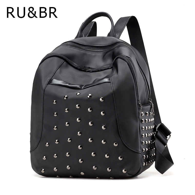 RU BR Oxford Cloth Shoulders Bag New Korean Fashion Backpacks Solid Color Casual Women s Rivets