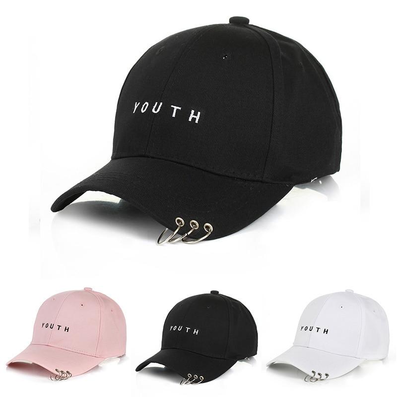 Youth 3 Rings Caps Hip Hop Solid Baseball Cap Snapback Hat Unisex Letter Hat Hot