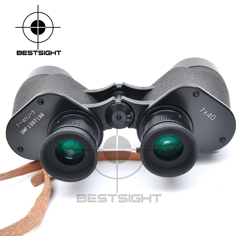 New Outdoor Binoculars 7X40 Military Grade Waterproof Telescope HD Green Film BAK4 Prism Wide Angle with Range Reticle