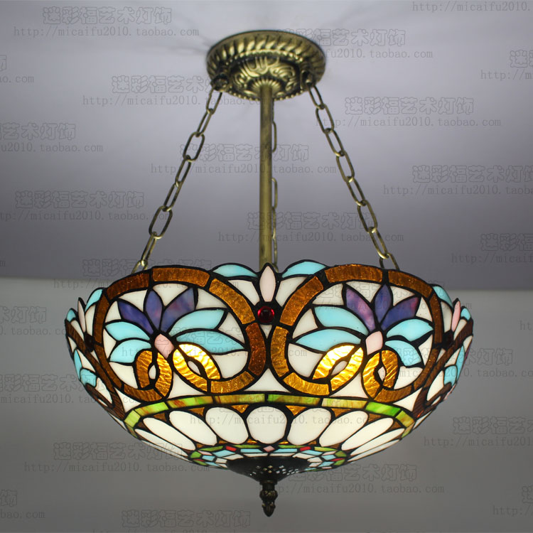 16Tiffany Baroque Stained Glass E27 110-240V Chain Pendant lights for Home Parlor Dining Room tiffany baroque sunflower stained glass iron mermaid wall lamp indoor bedside lamps wall lights for home ac 110v 220v e27