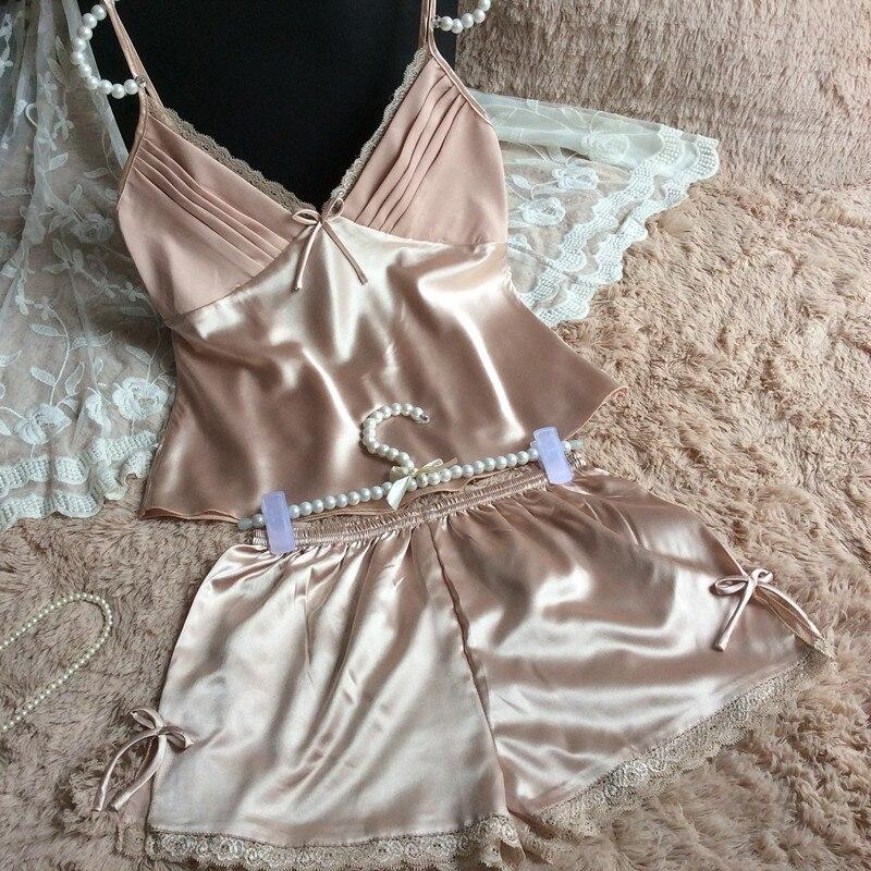 2016 летний стиль пижамы наборы Женский комплект для сна женский Глубокий v-образный вырез сексуальные спагетти ремень шорты пижамы шелковая домашняя одежда