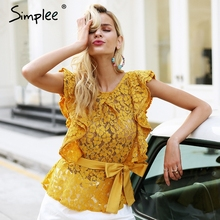 Simplee Sexy backless ruffle lace blouse women Sleeveless belt summer blouse female top 2018 Elegant red tansparent blouse shirt