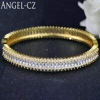 ANGELCZ Ánh Sáng Màu Vàng Vàng Màu Đảng Phụ Kiện Hand Thiết Luxury Cubic Zirconia Thương Hiệu Nổi Tiếng Bangle Trang Sức Cho Nữ AB092
