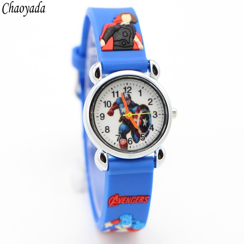 3D Cartoon Lovely Kids Girls Boys Children Students Quartz Wrist Watch Very Popular Watches Avengers Style