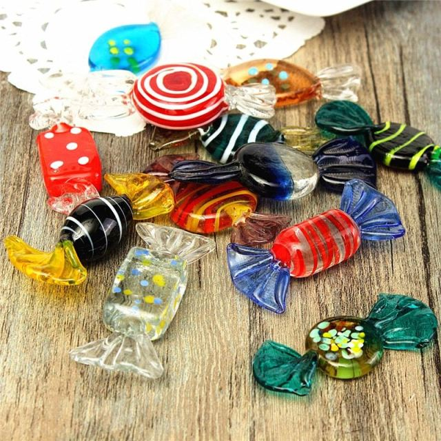 newest cute 12pcs colorful vintage glass sweets wedding party candy christmas decorations kids gift diy ornament - Candy Christmas Decorations