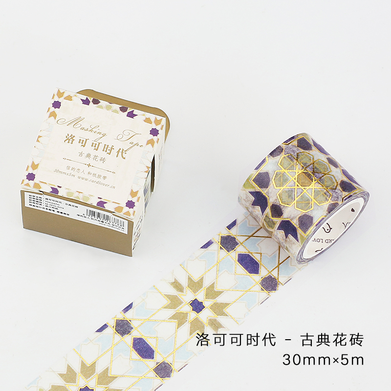 30mm Wide Retro Gold Flower Tile Wall Gilding Rococo Decoration Washi Tape DIY Planner Diary Scrapbook Masking Tape Escolar