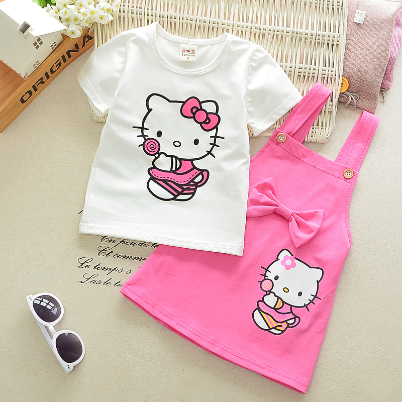 2pcs Girls Dress Hello Kitty Lovely Princess Kids Dresses for Girls 2017 Summer Toddler Girls Clothing Sets Kids Clothes Z10