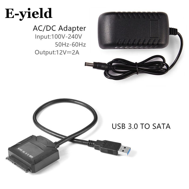 """USB 3.0 to SATA IDE Adapter for 2.5/"""" 3.5/"""" SDD HDD Hard Drives with 12V//2A Power"""