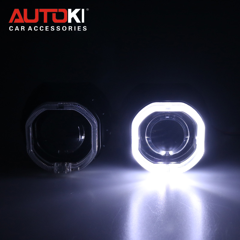 Autoki Super Bright LED Angel Eyes Halo HID Car Projector Lens Headlight Bi xenon Retrofit Kit