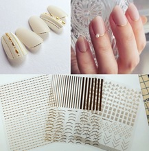 3 sheet 6 type Gold Ultrathin Nail Stickers Designs Gummed 3D Nail Art Stickers Decals Makep Art Decorations HanYi144-149