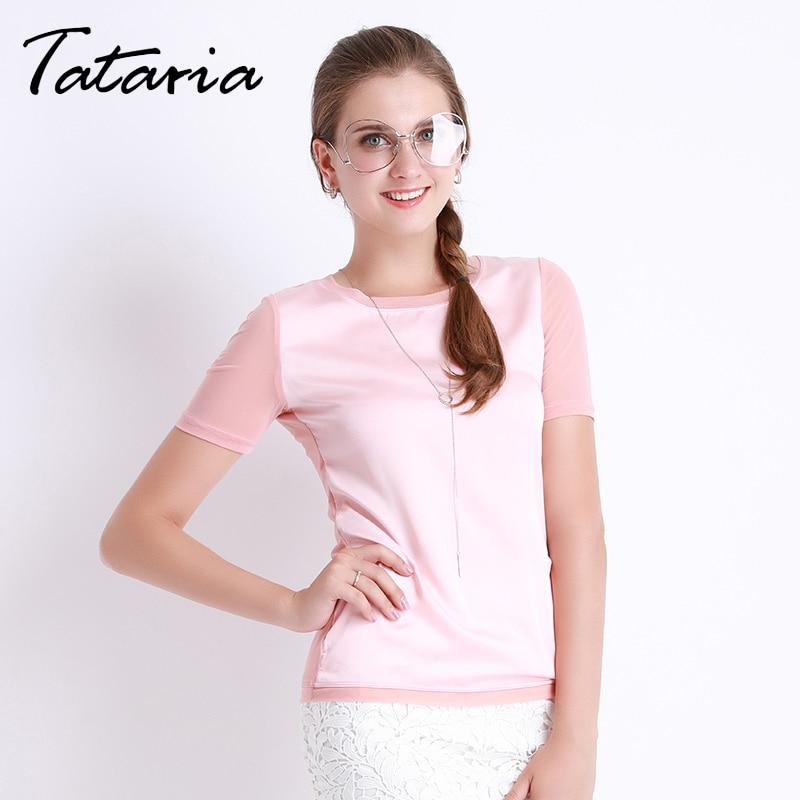 Shirts Women Summer Imitation Silk Blouses Short Sleeve Tops Female Chemise Femme Elegant Clothing For Women Clothes Tataria 089