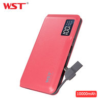 WST Power Bank 10000mAh LED Digital Display Portable External Battery Built in Cable Powerbank for iPhone Samsung Xiaomi Android