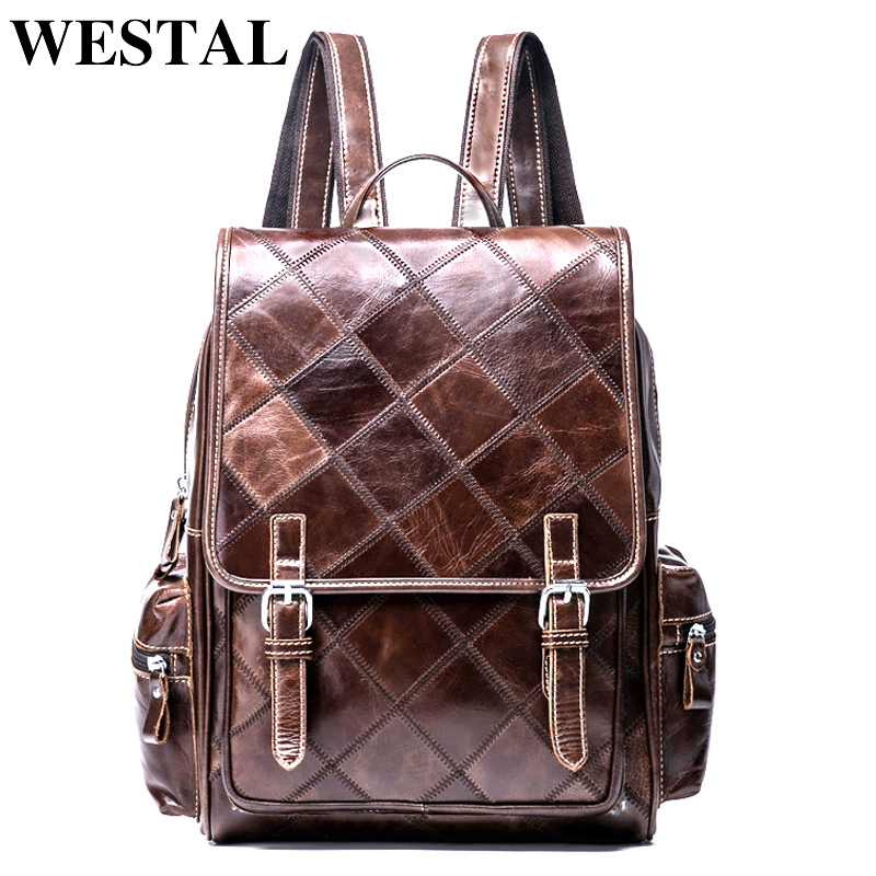 WESTAL Plaid Women Backpack Genuine Leather Backpack for Girls Teenages Backpacks Female School Bags Leather Laptop Backpacks hot sale women s backpack the oil wax of cowhide leather backpack women casual gentlewoman small bags genuine leather school bag