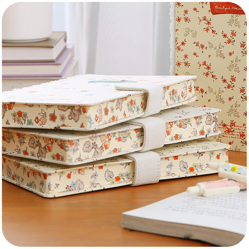 Fresh Notebook Stationery Creative Literature Magnetic Lever Notepad Floral Lace Japan Korea Handbook agenda 2017 diary caderno