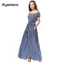 Ryseleco Off Shoulder Vertical Strip Print Chiffon Summer Long Dress Women 2017 Style Sexy Button Up