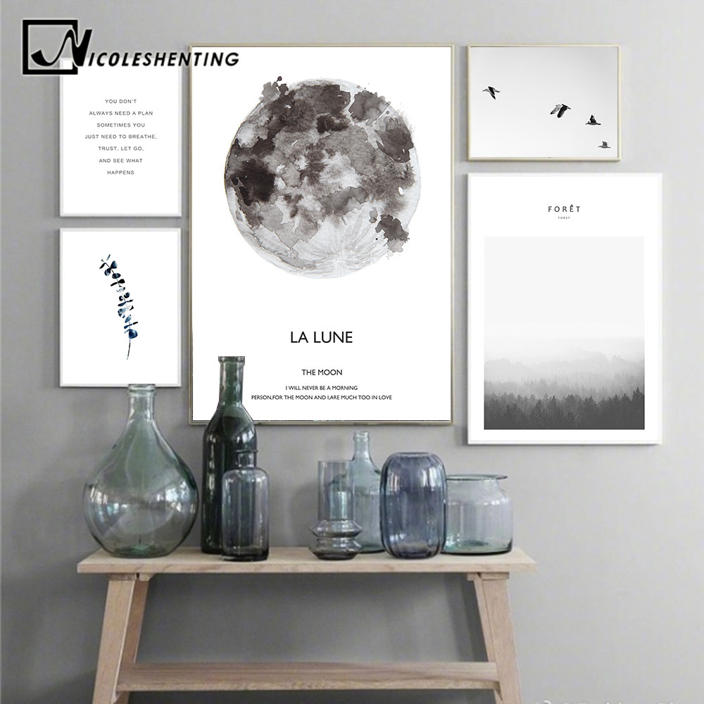 Scandinavian Landscape Moon Lune Canvas Poster Motivational Nordic Style Wall Art Print Painting Decoration Pictures Home Decor