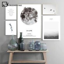 Affiche en toile de Lune de paysage scandinave, Art imprimé mural de Style nordique pour décoration