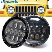 цены HJYUENG 75w 2pcs For Jeep Wrangler JK TJ 7Inch White DRL Hi/lo Beam LED Round Headlight Offroad Car Lamp For Land Rover Defender