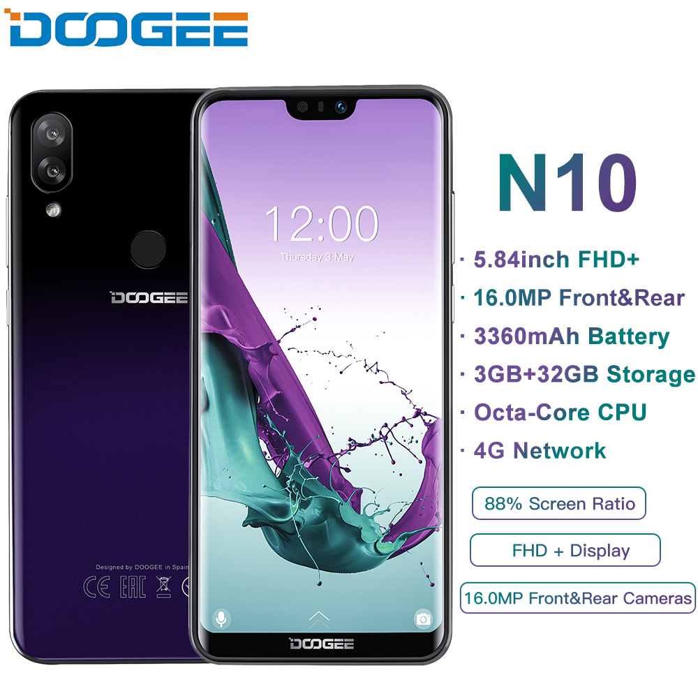 DOOGEE N10 Mobile Phone Octa-Core 3GB RAM 32GB ROM 5.84inch FHD+ 19:9 Display 16.0MP Face Unlock 3360mAh Android 8.1 4GLTE