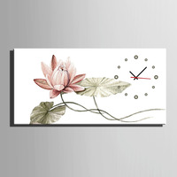 Gratis Verzending E-HOME Roze Lotus Klok in Canvas 1 stks wandklok