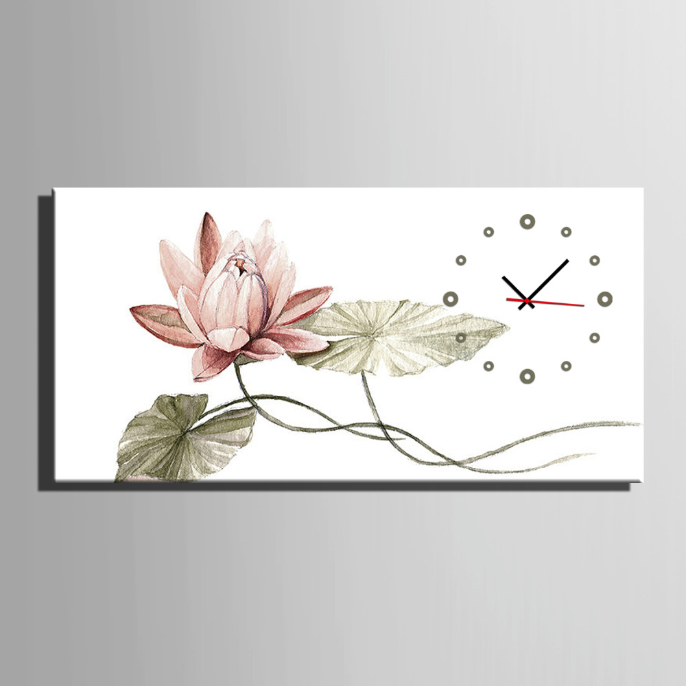 Livraison Gratuite E-HOME Rose Lotus Horloge en Toile 1 pcs horloge murale