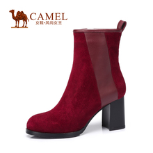 Camel sheep suede leather shoes high-heeled zipper boots thick round Winter 2015 New women's fashion boots a54013605