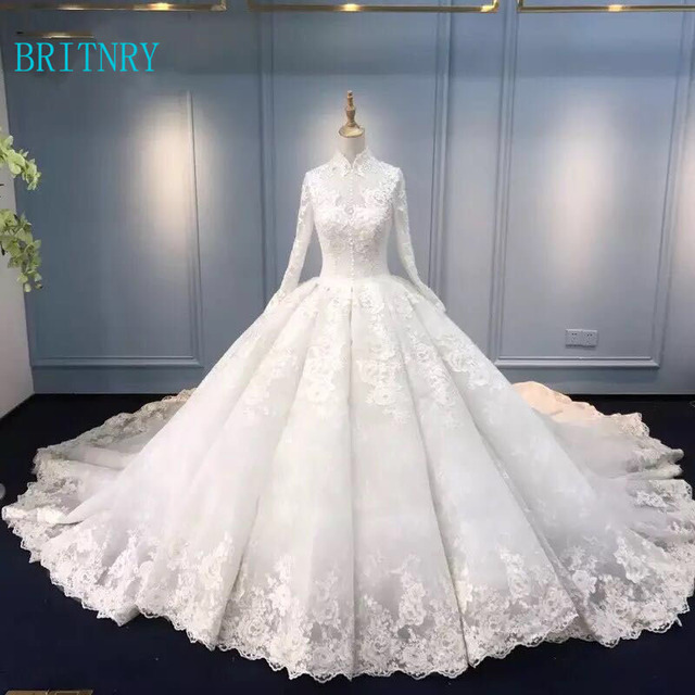 0301a66ac326d BRITNRY 2018 Luxury Wedding Dress High Neck Lace Ball Gown Bridal Dresses  Long Sleeve Muslim Bridal Gown Plus Size